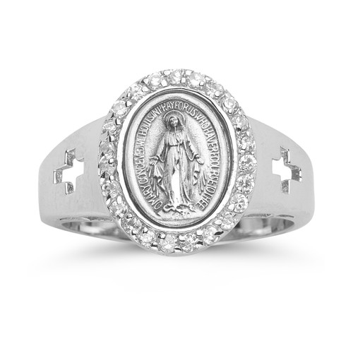 Sterling Silver Miraculous Medal Crystal Cubic Zirconia Ring | All Sizes