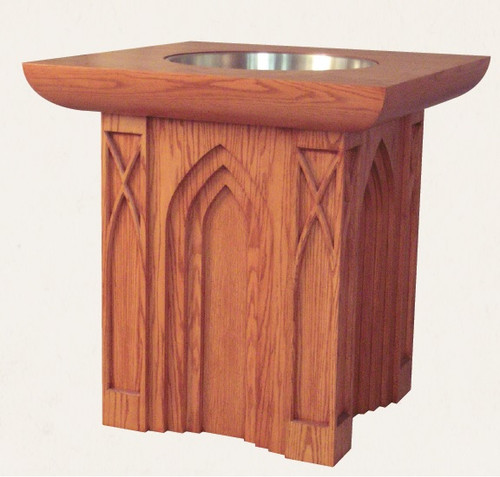 #639 Gothic Baptismal Font with Stainless Basin | Multiple Finishes & Materials Available