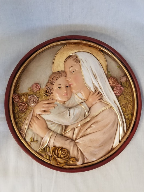 "10"" Madonna & Child Round Plaque 