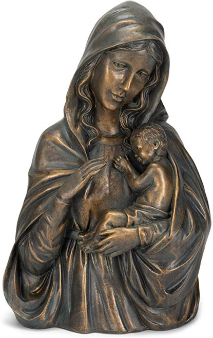 "14.25"" Bronze Madonna & Child Statue 