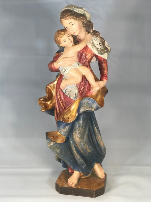 "17"" Madonna and Child Distressed Wood Statue 
