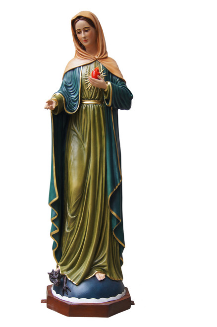 "40"" Hand-Painted Madonna Flame Of Love Statue 