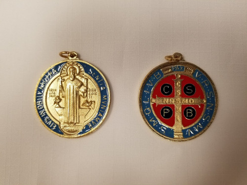 """1 3/4"""" St. Benedict Oxidized Gold Medal"""