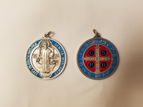 """1 3/4"""" St. Benedict Oxidized Silver Medal"""