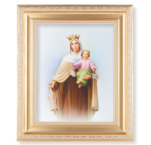 Our Lady of Mount Carmel Gold Framed Art