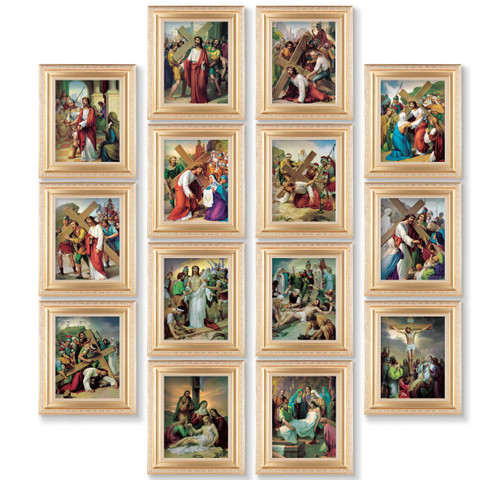 Stations of the Cross Gold Framed Canvas