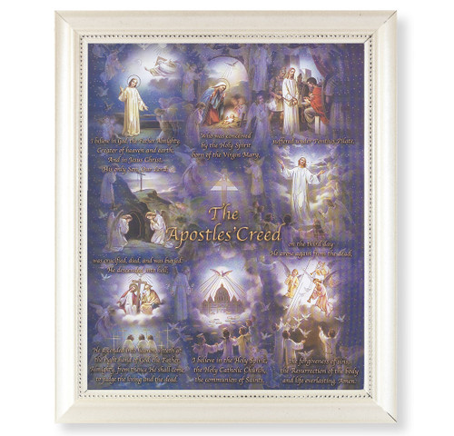 Apostles' Creed Pearlized White Framed Art