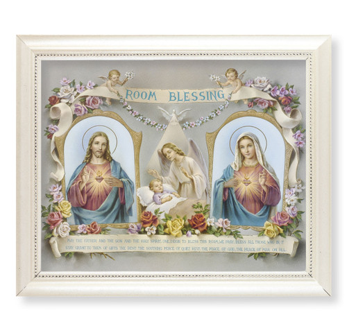 Baby Room Blessing Pearlized White Framed Art