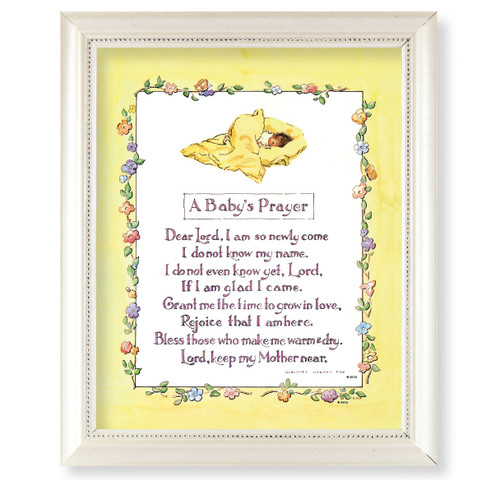 A Baby's Prayer Pearlized White Framed Art