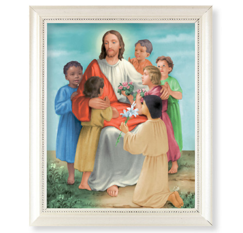 Christ with Children Pearlized White Framed Art