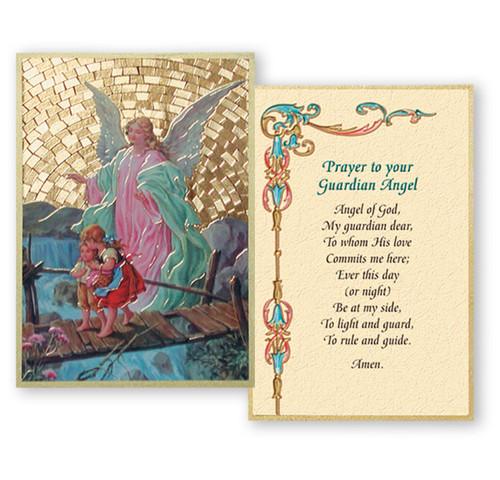 Guardian Angel Crossing Bridge Gold Foil Mosaic Plaque