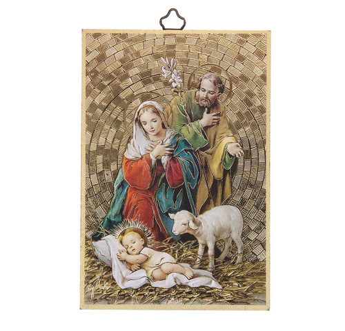 Holy Family Gold Foil Mosaic Plaque