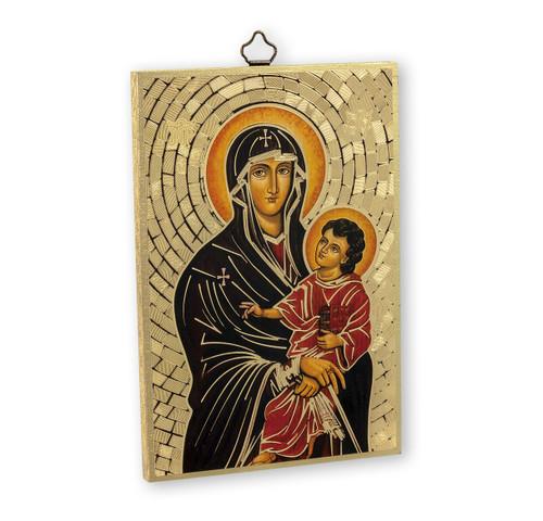 Our Lady of Romanus Gold Foil Mosaic Plaque