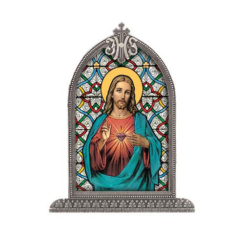 Sacred Heart of Jesus Antiqued Framed Liturgical Glass