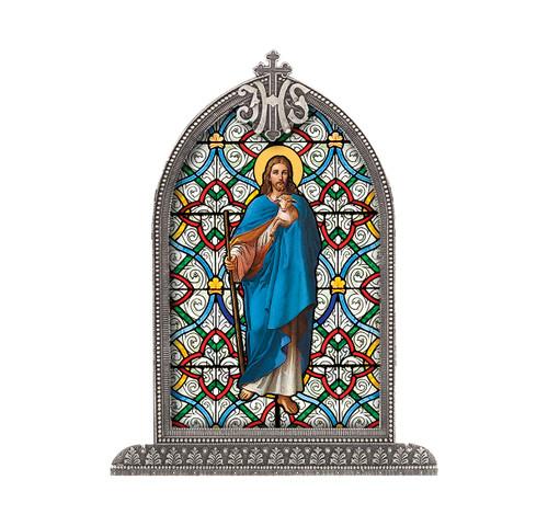 Good Shepherd Antiqued Framed Liturgical Glass
