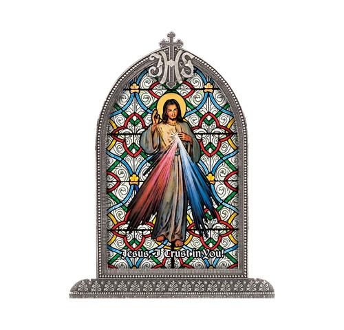 Divine Mercy Antiqued Framed Liturgical Glass