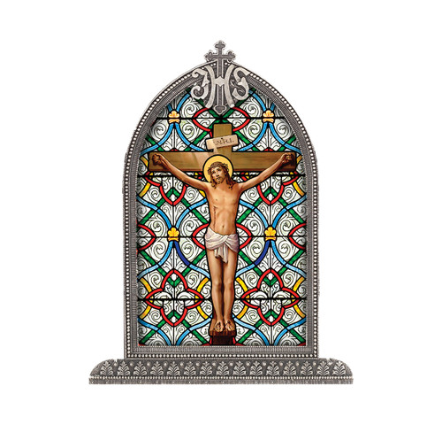 Crucifixion Antiqued Framed Liturgical Glass