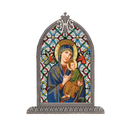 Our Lady of Perpetual Help Antiqued Framed Liturgical Glass