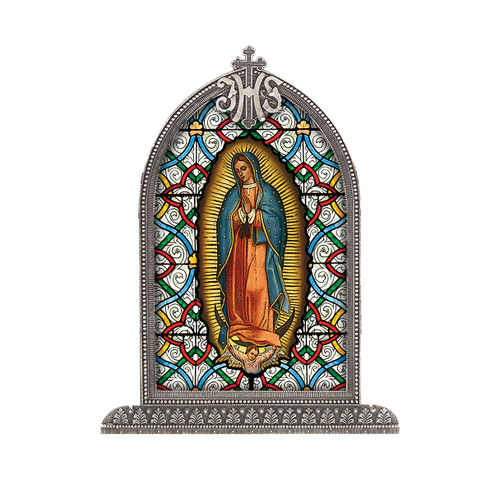 Our Lady of Guadalupe Antiqued Framed Liturgical Glass
