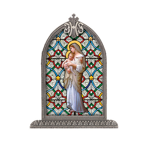 Our Lady of Divine Innocence Antiqued Framed Liturgical Glass