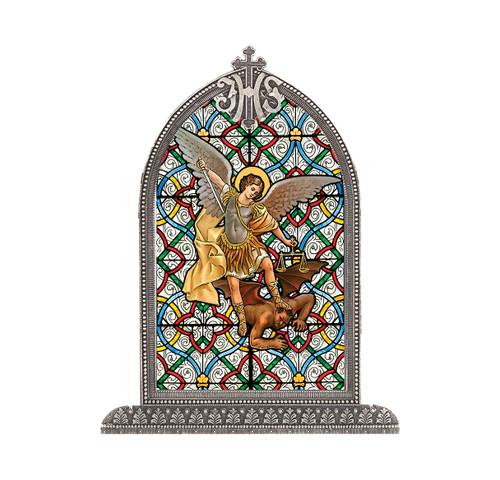 St. Michael Antiqued Framed Liturgical Glass