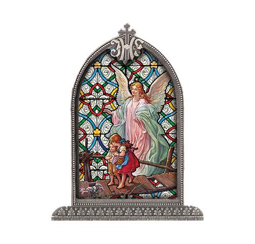 Guardian Angel Antiqued Framed Liturgical Glass