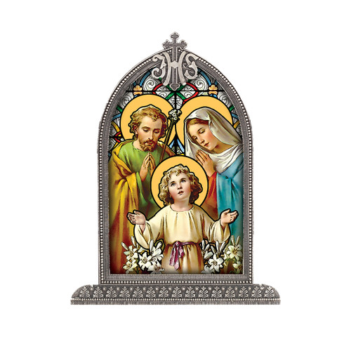 Holy Family Antiqued Framed Liturgical Glass