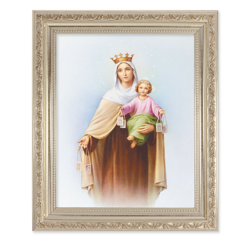 Our Lady of Mount Carmel Antique Silver Framed Art