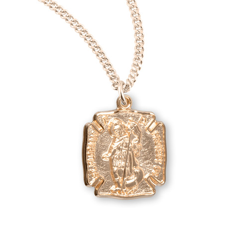 Gold Over Sterling Silver St. Florian Medal