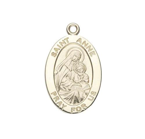 Patron Saint Anne Oval Solid 14 Karat Gold Medal