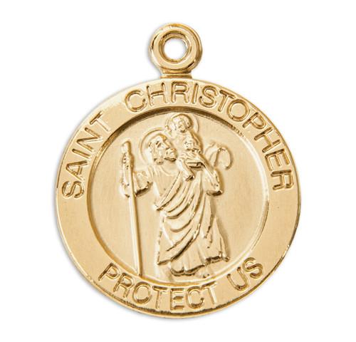 Patron Saint Christopher 14 Karat Gold Round Medal | Style A