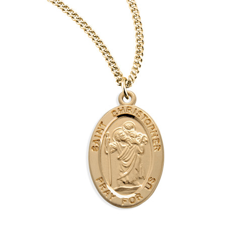 Patron Saint Christopher Oval Gold Over Sterling Silver Medal