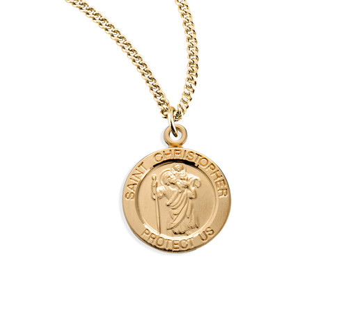"Patron Saint Christopher Small Round Gold Over Sterling Silver Medal| 18"" Chain"