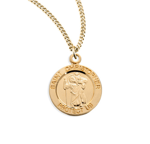 "Patron Saint Christopher Medium Round Gold Over Sterling Silver Medal | 18"" Chain"