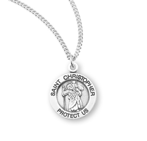 """Patron Saint Christopher Small Round Sterling Silver Medal