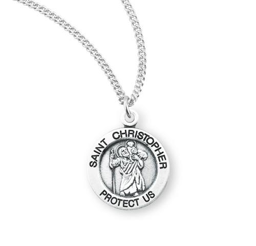 "Patron Saint Christopher Medium Round Sterling Silver Medal| 18"" Chain"