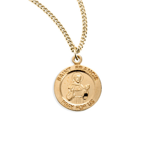 Patron Saint Francis of Assisi Medium Round Gold Over Sterling Silver Medal