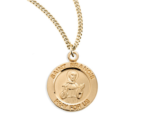 Patron Saint Francis of Assisi Large Round Gold Over Sterling Silver Medal