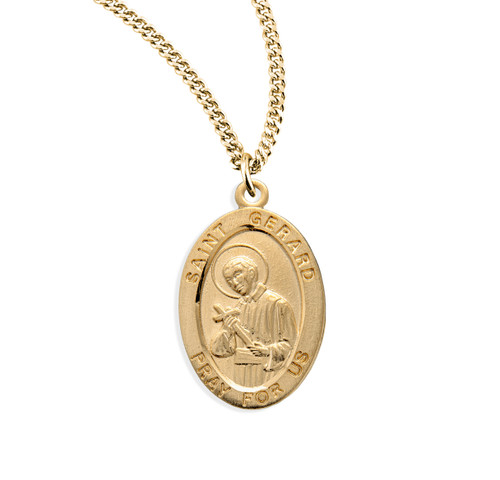 Patron Saint Gerard Oval Gold Over Sterling Silver Medal