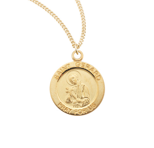 Patron Saint Gerard Medium Round Gold Over Sterling Silver Medal
