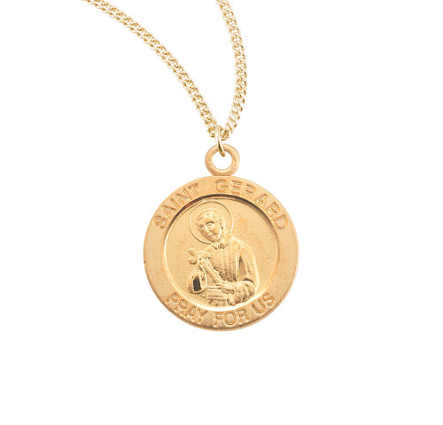 Patron Saint Gerard Large Round Gold Over Sterling Silver Medal