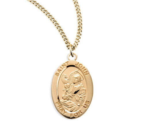 Patron Saint John the Evangelist Oval Gold Over Sterling Silver Medal