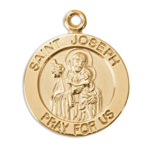 Patron Saint Joseph 14 Karat Gold Round Medal | Style A