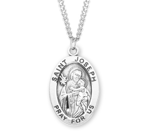 "Patron Saint Joseph Large Oval Sterling Silver Medal | 24"" Chain"