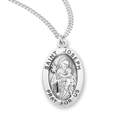 "Patron Saint Joseph Medium Oval Sterling Silver Medal | 20"" Chain"