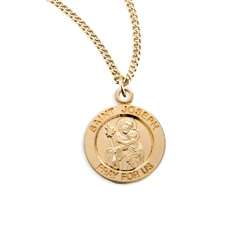 "Patron Saint Joseph Medium Round Gold Over Sterling Silver Medal | 18"" Chain"
