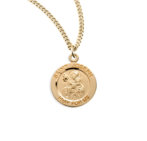 "Patron Saint Joseph Large Round Gold Over Sterling Silver Medal | 18"" Chain"
