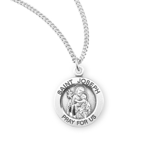 "Patron Saint Joseph Large Round Sterling Silver Medal | 18"" Chain"