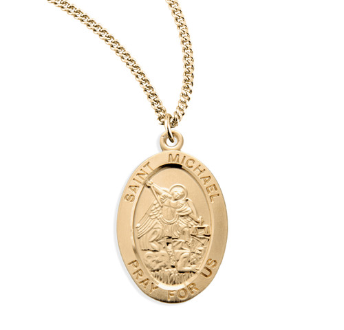 Patron Saint Michael Gold Over Sterling Silver Oval Medal