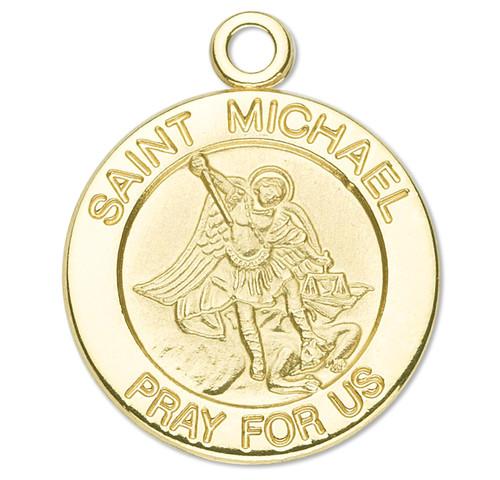 Patron Saint Michael Solid 14 Karat Gold Medal
